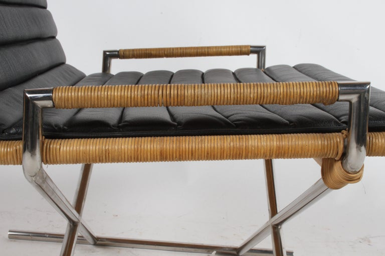 Ward Bennett Sled Chair Rattan and Leather For Sale 7