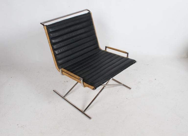 Mid-Century Modern Ward Bennett Sled Chair Rattan and Leather For Sale