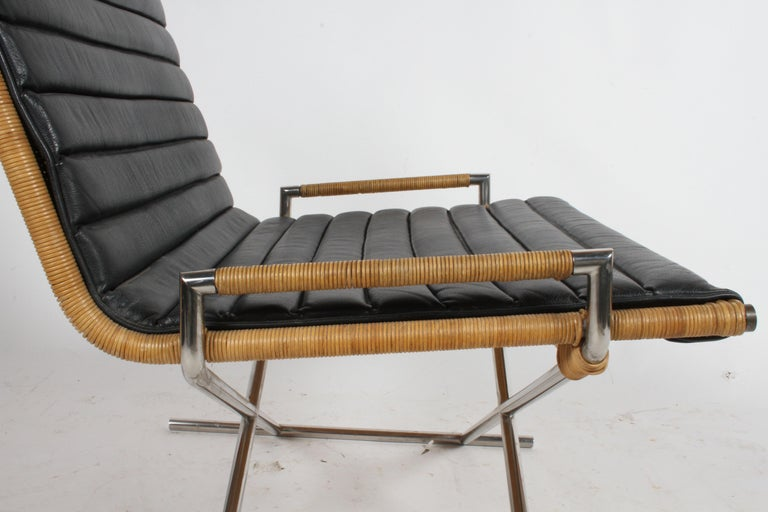 Plated Ward Bennett Sled Chair Rattan and Leather For Sale
