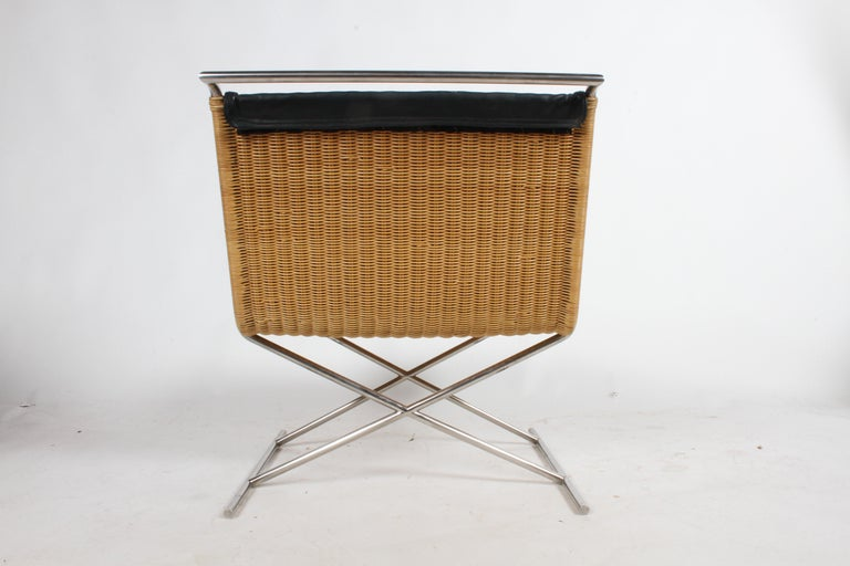 Ward Bennett Sled Chair Rattan and Leather In Good Condition For Sale In St. Louis, MO