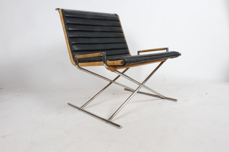 Steel Ward Bennett Sled Chair Rattan and Leather For Sale