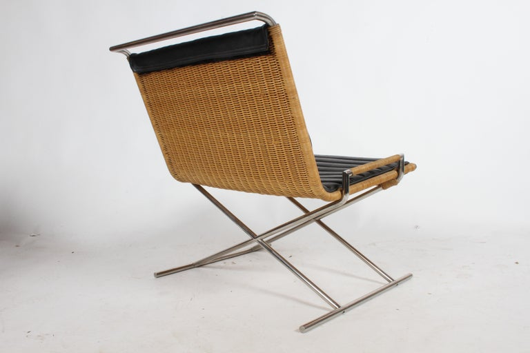 Ward Bennett Sled Chair Rattan and Leather For Sale 1
