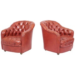 Ward Bennett Tufted Club Chairs, Original Red Leather