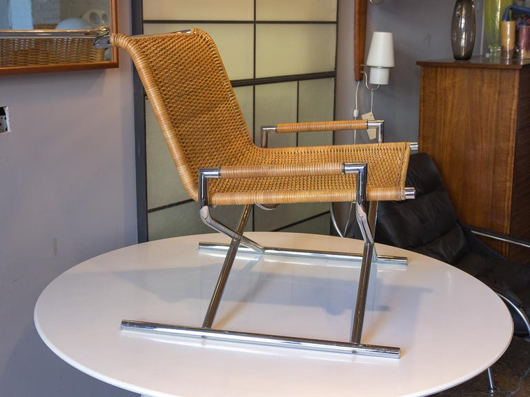 American Ward Bennett Woven Sled Chair For Sale
