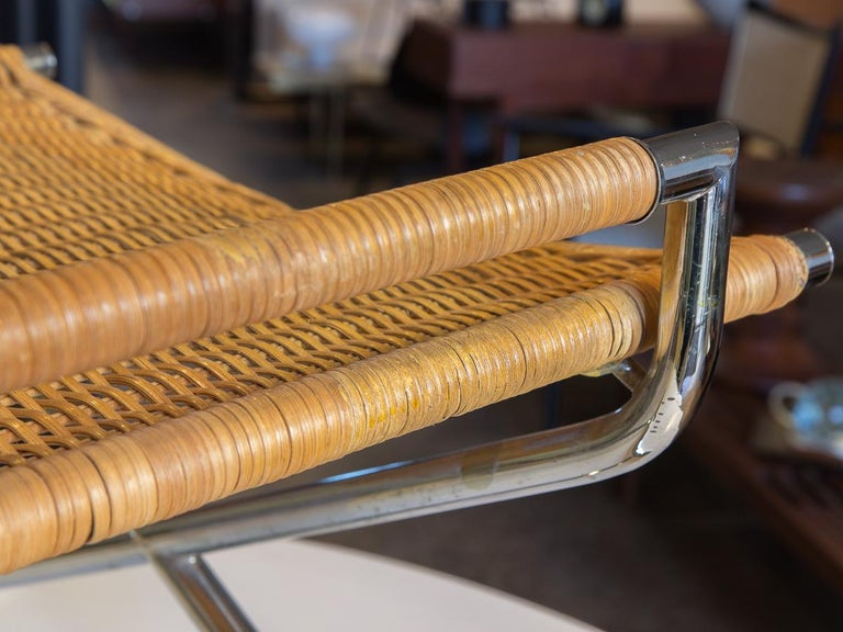 20th Century Ward Bennett Woven Sled Chair For Sale