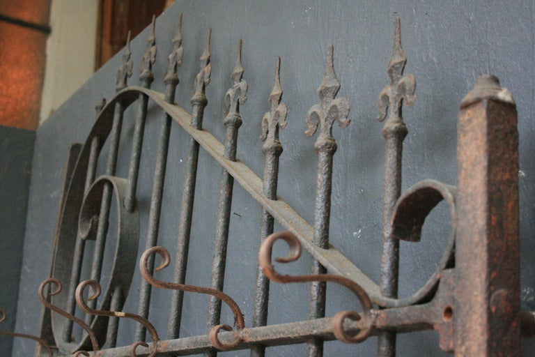 Wardrobe Coat Rack Made of Antique Wrought-Iron Gate For Sale 14