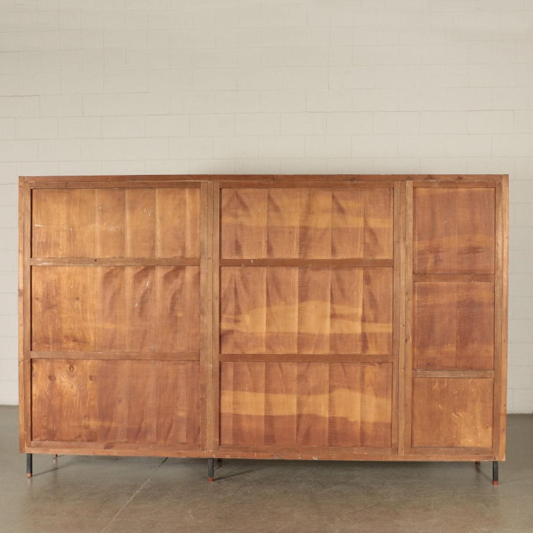 Wardrobe Mahogany Veneer Formica Mirrored Glass Metal, Italy, 1950s-1960s 4