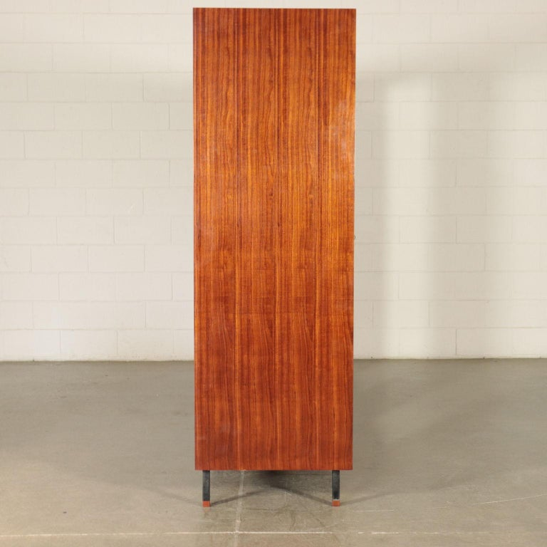 Wardrobe Mahogany Veneer Formica Mirrored Glass Metal, Italy, 1950s-1960s 5