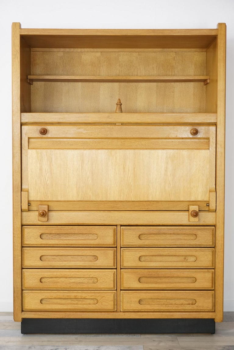 Wardrobe - secretary Geminimodel in oakwood French design 1960s by Guillerme and Chambron (the famous duo of designers from France for
