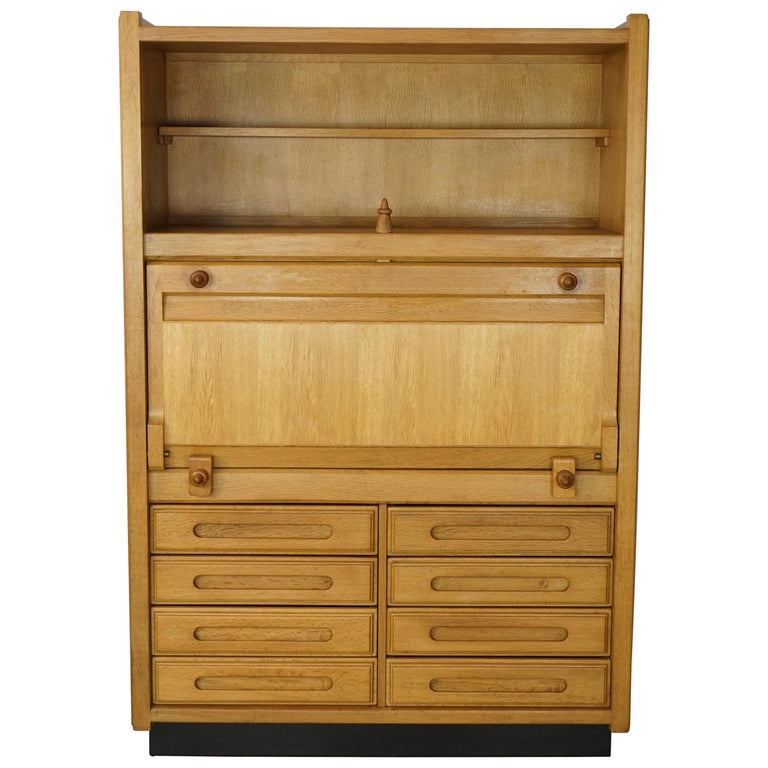 "Wardrobe-Secretary ""Gemini"" Model Oak 1960s French Design Guillerme & Chambron For Sale"