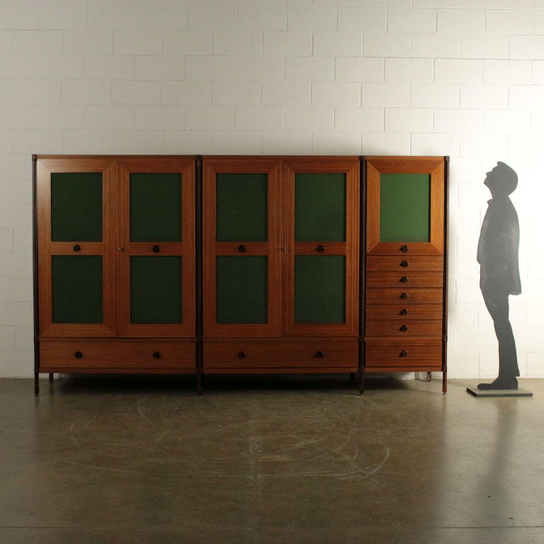 Wardrobe with doors and drawers, teak and wood veneer, skai inserts on the doors. Good condition, 1960s.