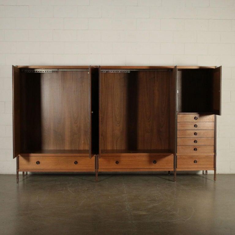 Mid-Century Modern Wardrobe Wood and Teak Veneer Vintage, Italy, 1960s For Sale