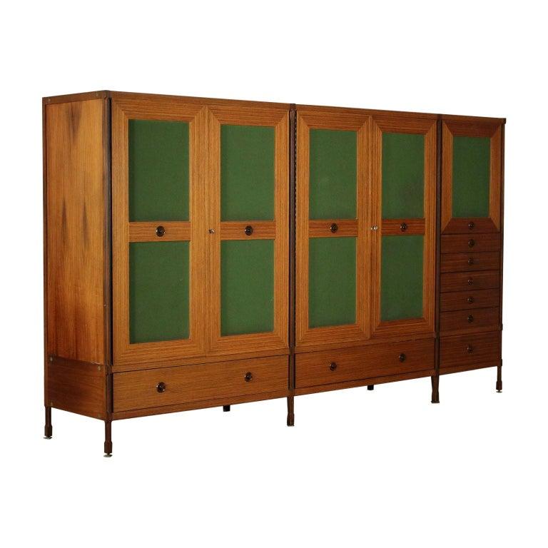 Wardrobe Wood and Teak Veneer Vintage, Italy, 1960s For Sale