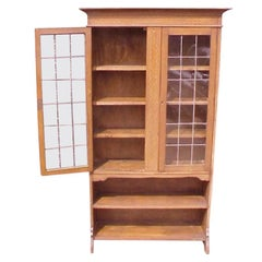 Waring & Gillows attr, Arts & Crafts Oak Bookcase with Ebony & Fruitwood Inlays