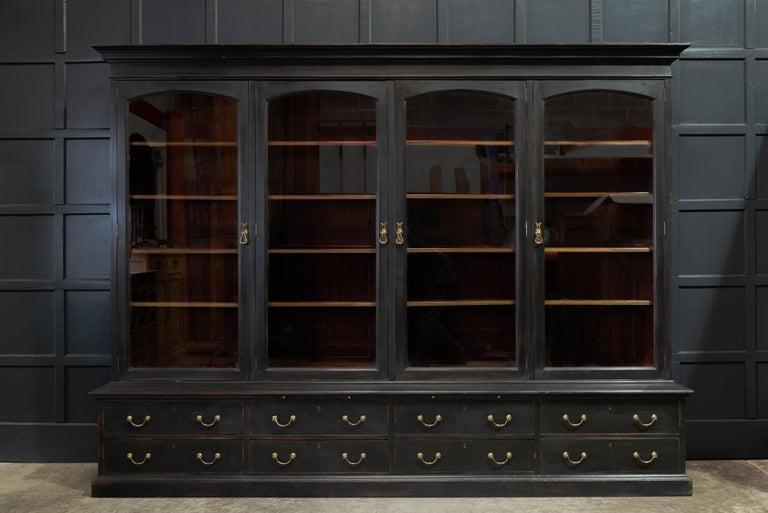 Waring & Gillows Glazed Ebonised Mahogany Bookcase For Sale 13