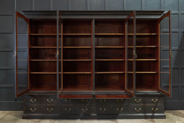 Waring & Gillows Glazed Ebonised Mahogany Bookcase In Good Condition For Sale In Harrogate, GB