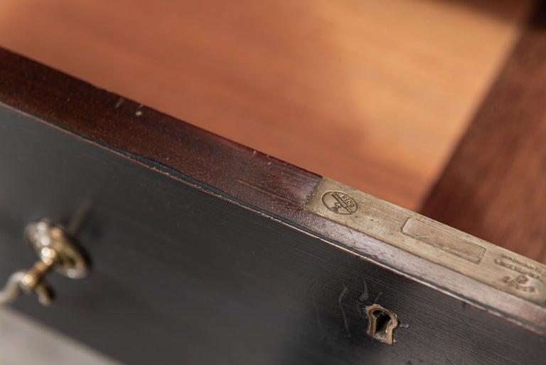 Waring & Gillows Glazed Ebonised Mahogany Bookcase For Sale 2