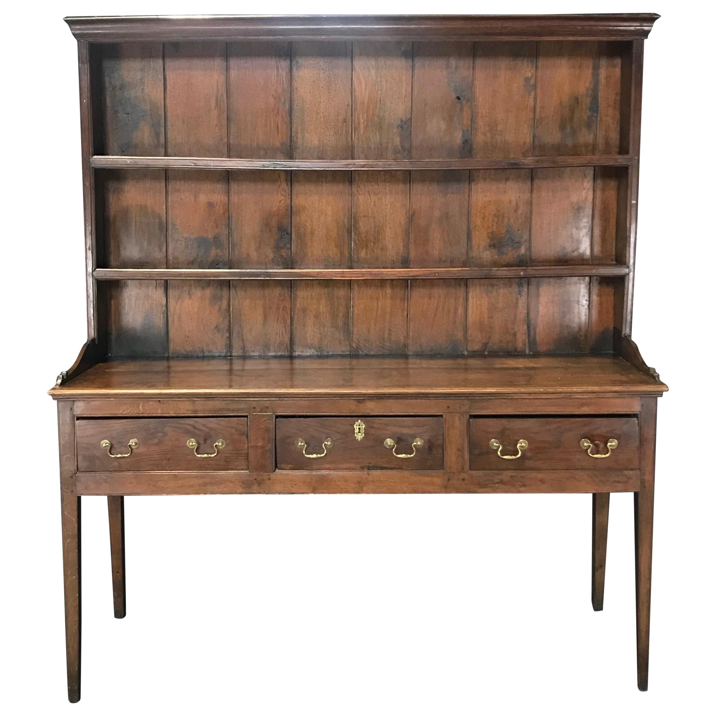 Warm 19th Century Large Oak English China Cupboard Sideboard Cabinet