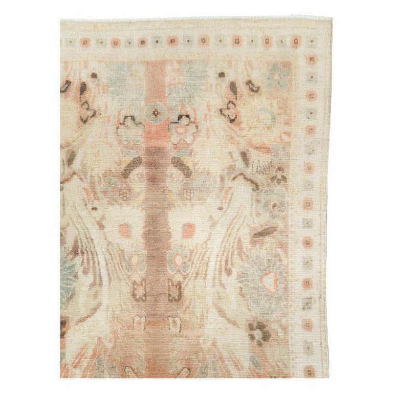 Modern Warm and Colorful Mid-20th Century Handmade Indian Agra Accent Rug For Sale