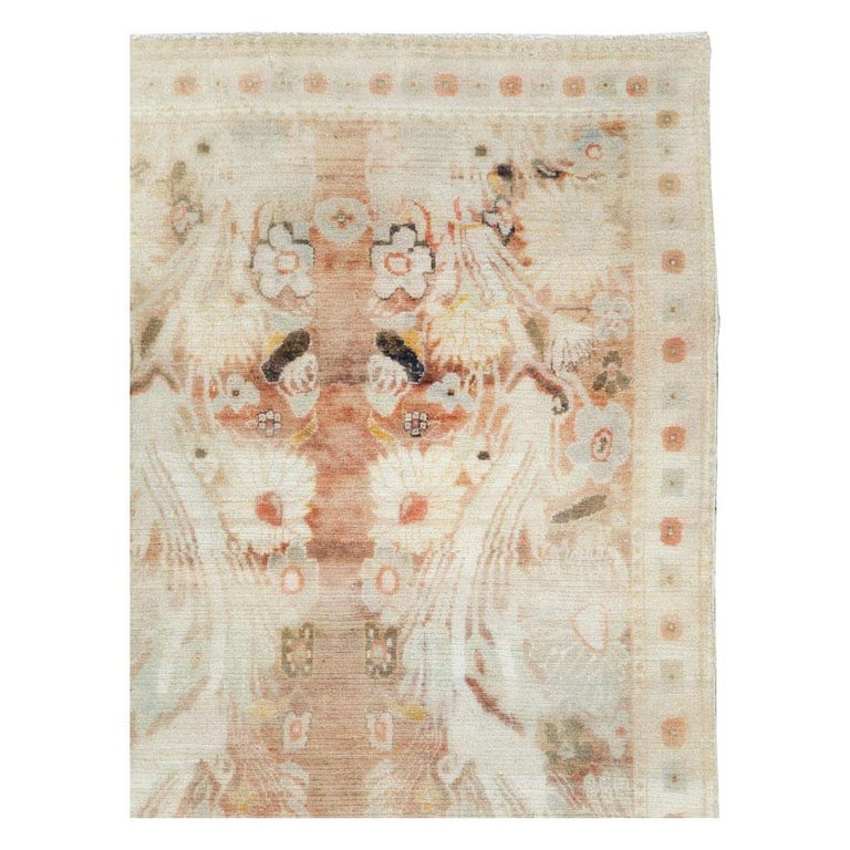 Hand-Knotted Warm and Colorful Mid-20th Century Handmade Indian Agra Accent Rug For Sale
