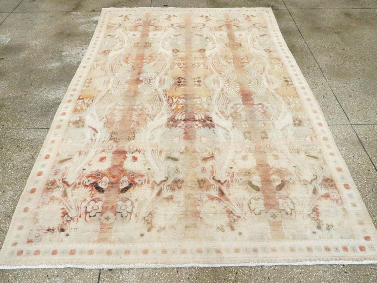 Warm and Colorful Mid-20th Century Handmade Indian Agra Accent Rug In Good Condition For Sale In New York, NY