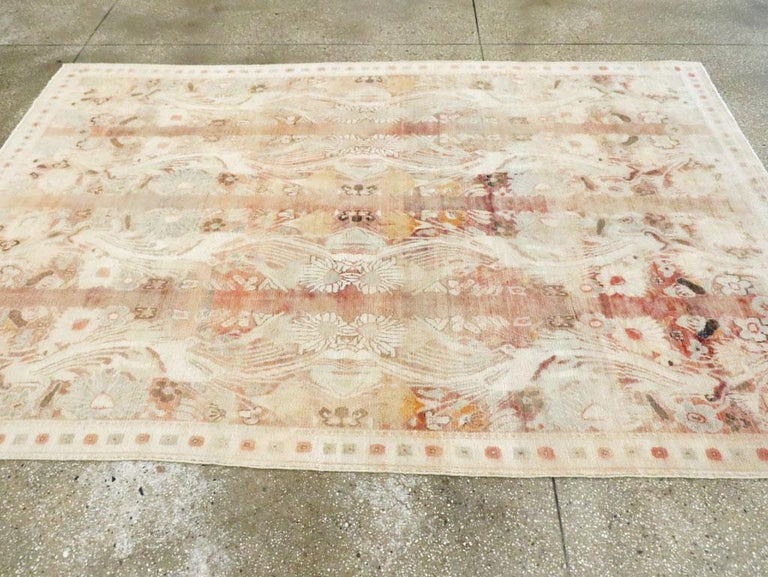Warm and Colorful Mid-20th Century Handmade Indian Agra Accent Rug For Sale 1