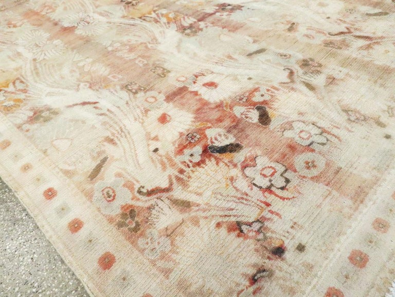Warm and Colorful Mid-20th Century Handmade Indian Agra Accent Rug For Sale 3