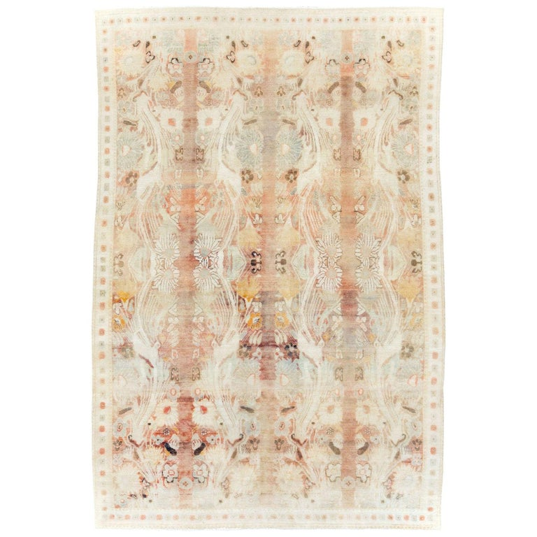 Warm and Colorful Mid-20th Century Handmade Indian Agra Accent Rug For Sale