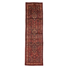 Warm and Rustic Style Vintage Persian Hamadan Runner, Hallway Runner