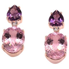 Gemjunky Warm and Wonderful Pink Kunzite and Purple Amethyst Earrings