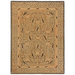 Chinese Mid Century Warm Beige Handwoven Wool Rug