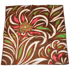 "Warm Brown Surrounding ""Bursting Florals"" Scarf"