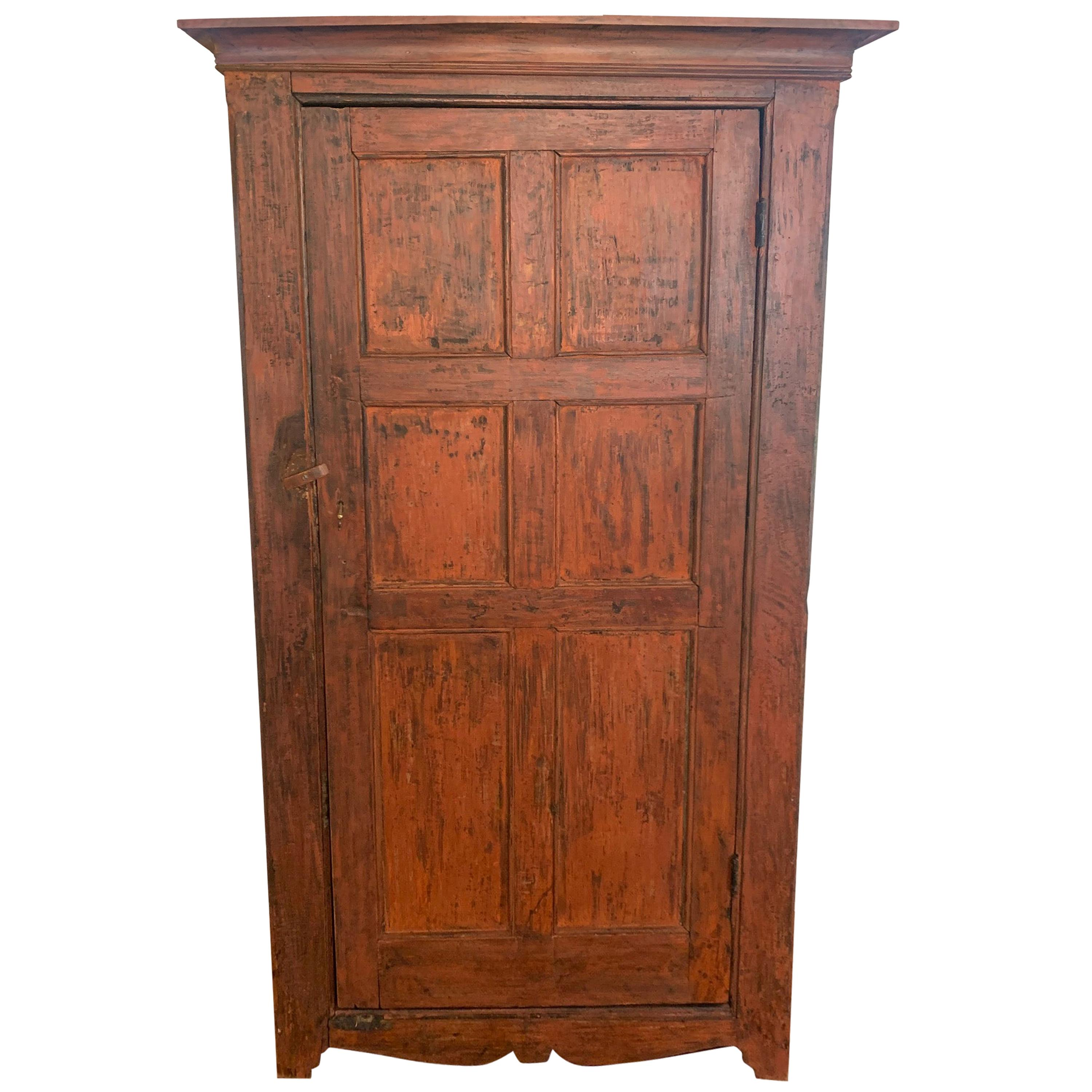 Warm Country Vermont Distressed Painted Cupboard