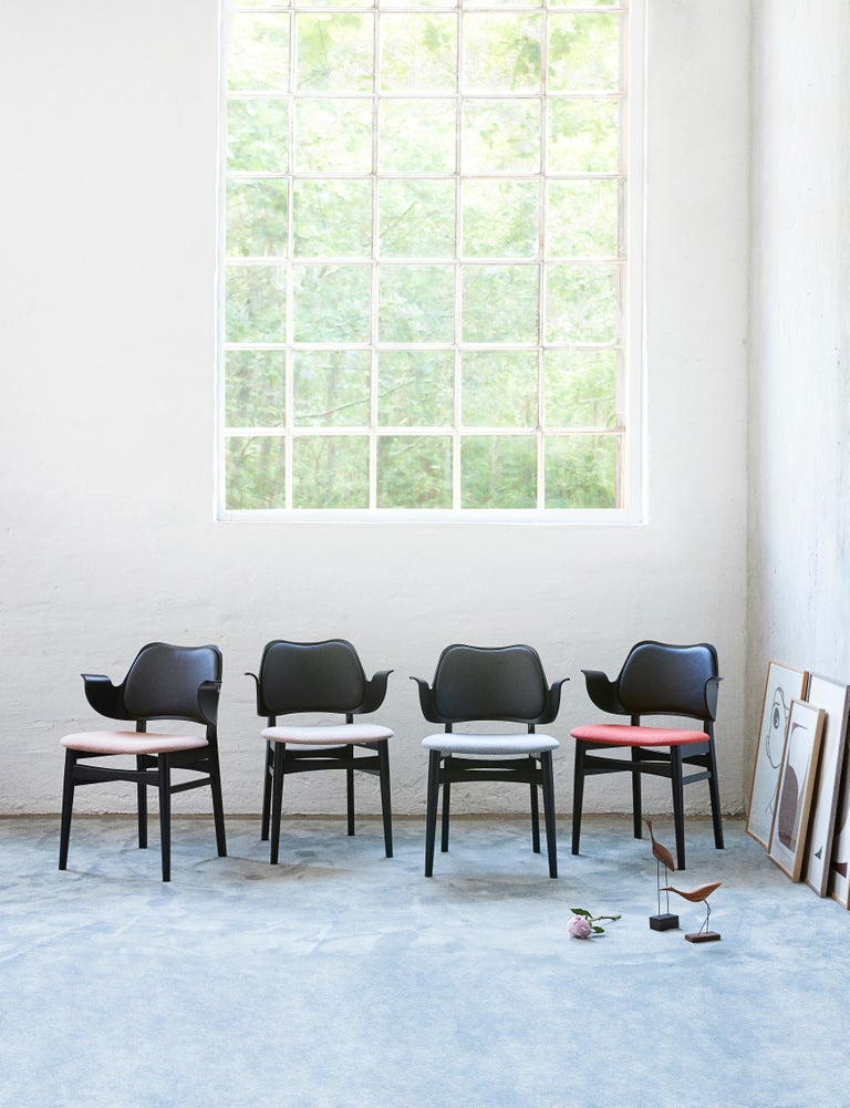 Contemporary Warm Nordic Gesture Monochrome Fully Upholstered Chair in Black, by Hans Olsen For Sale
