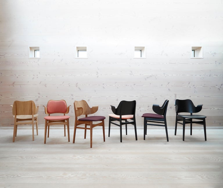 Wood Warm Nordic Gesture Monochrome Fully Upholstered Chair in Black, by Hans Olsen For Sale