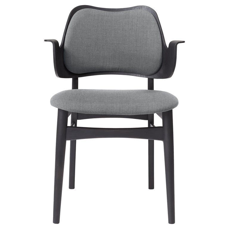 For Sale: Gray (Canvas 134) Warm Nordic Gesture Monochrome Fully Upholstered Chair in Black, by Hans Olsen