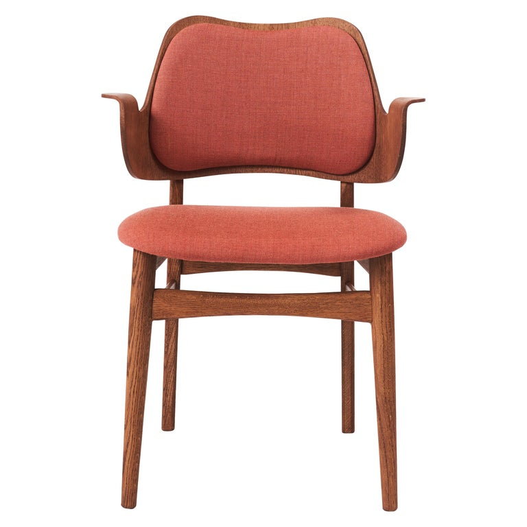 For Sale: Pink (Canvas566) Warm Nordic Gesture Monochrome Fully Upholstered Chair in Teak Oak, Hans Olsen