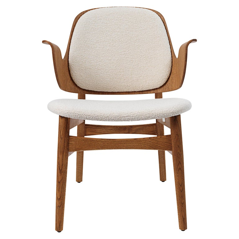 For Sale: White (Barnum 24) Warm Nordic Gesture Monochrome Fully Upholstered Lounge Chair in Teak Oak