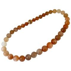 Warm Orange Moonstone Bead Clasp Necklace 18 Karat Rose Gold