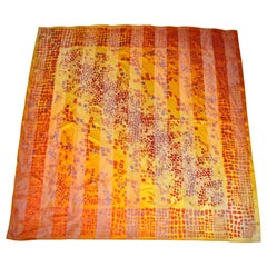 """Warm Shades Of Golden Tangerine & Gold Silk and Chiffon """"Pebbles"""" Scarf"""