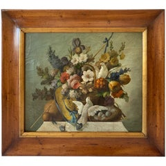 Warm Still Life of Flower and Doves in Amazing Oak Frame