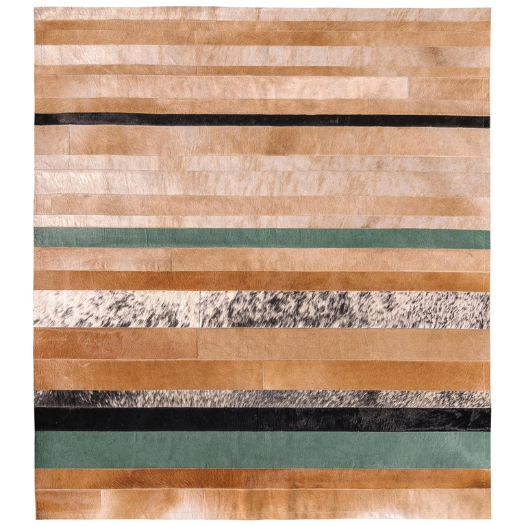 Warm, Timeless and Sophisticated Division Cowhide Area Floor Rug For Sale