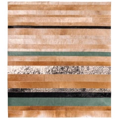 Natural brown, black and green striped Division Cowhide Area Floor Rug Medium