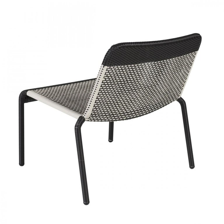Mid-Century Modern Warm White and Black Braided Resin French Design and Lounge Armchair For Sale
