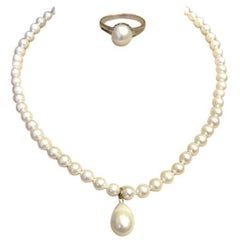 Exolette White Ocean Pearl Necklace w/ Teardrop Pendant and Matching Pearl Ring
