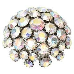 Warner Bora Aurealis Crystal Dome Vintage Pin Brooch Signed
