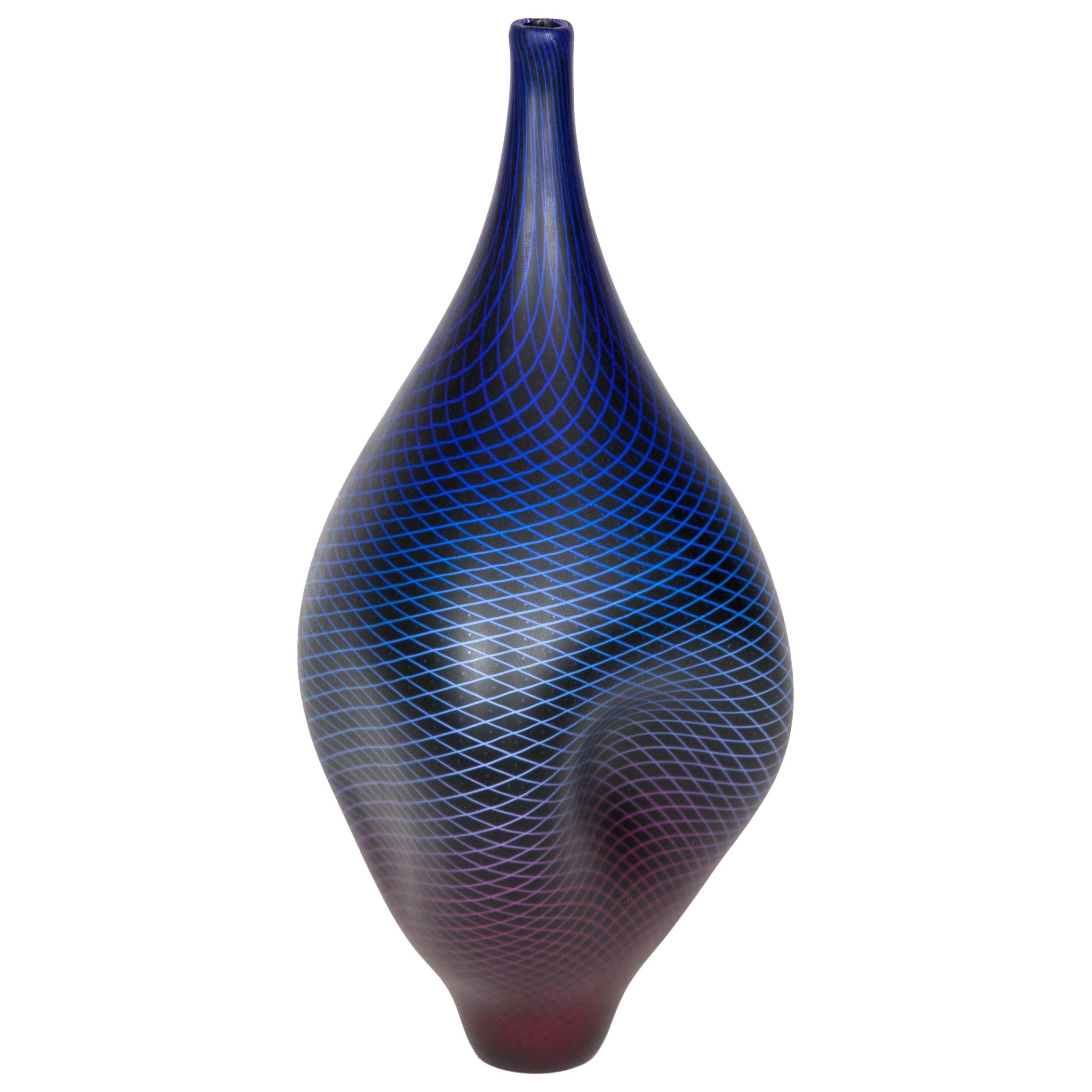 Warp & Fade 017, a Unique Blue, Purple & Red Glass Sculpture by Liam Reeves