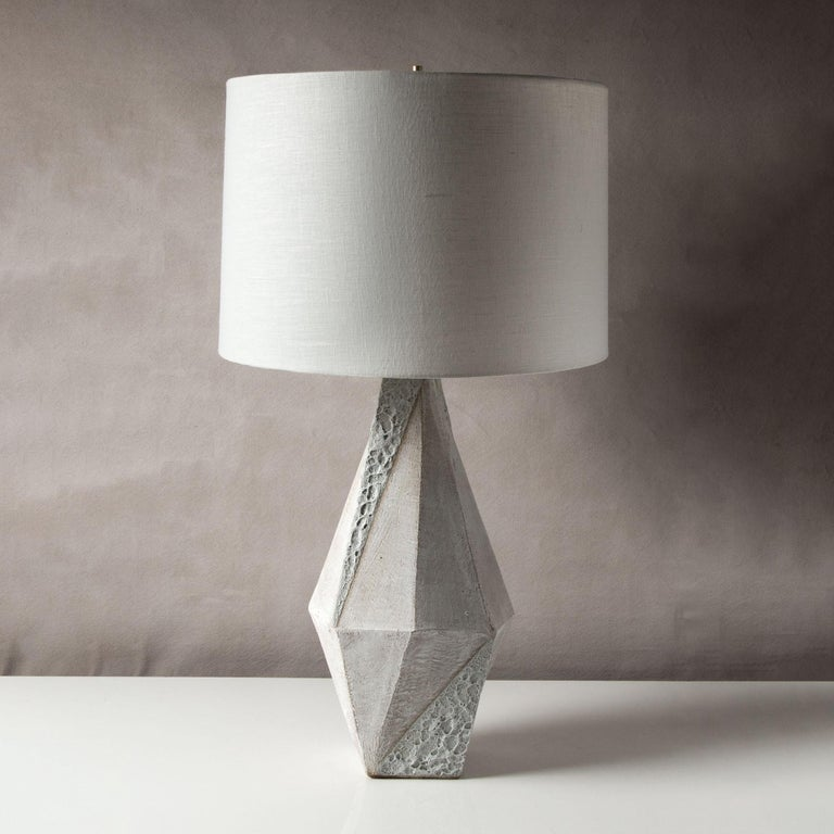 Modern 'Warp' Matte and Textured White Glazed Tall Geometric Ceramic Table Lamp For Sale