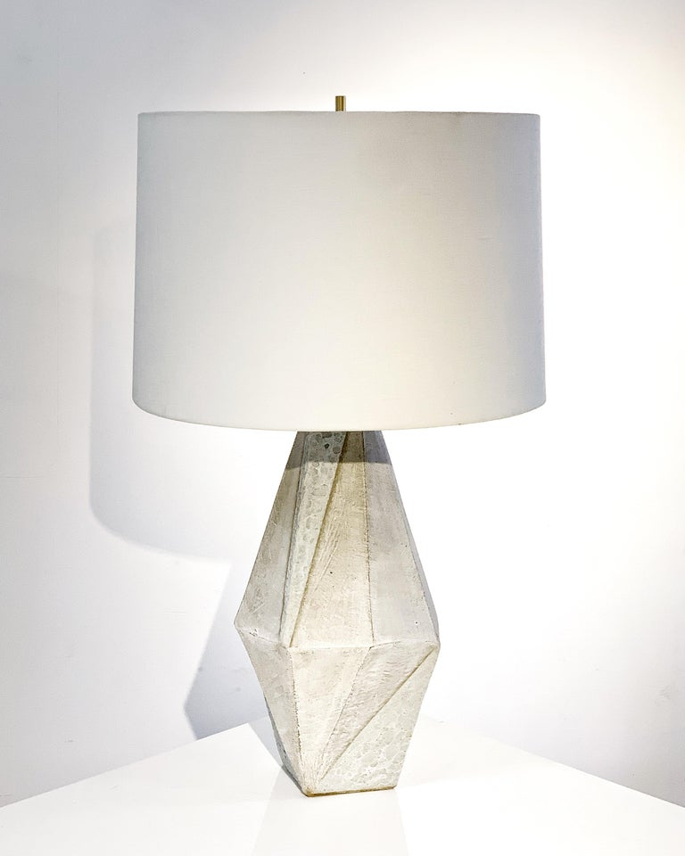 American 'Warp' Matte and Textured White Glazed Tall Geometric Ceramic Table Lamp For Sale