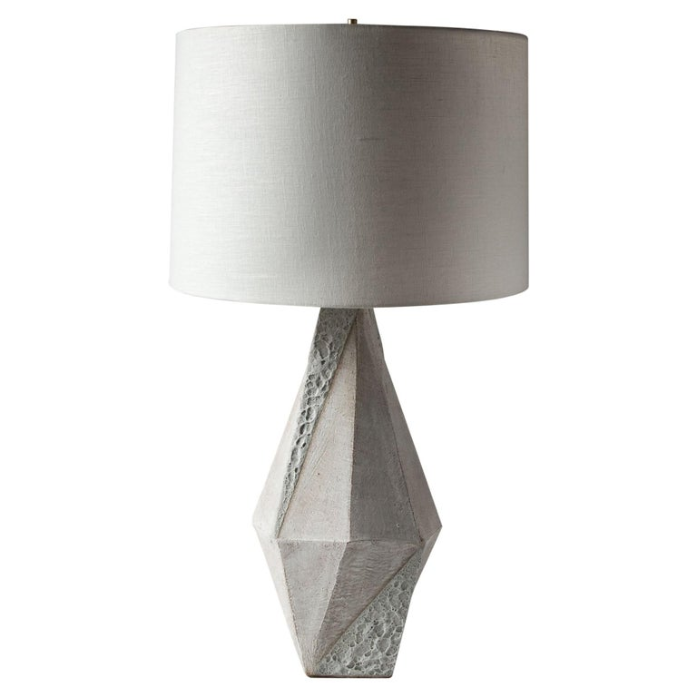'Warp' Matte and Textured White Glazed Tall Geometric Ceramic Table Lamp For Sale